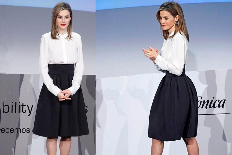 Lekcija elegancije kraljice Leticije: Bela košulja i crna suknja za svečani izgled! (FOTO)