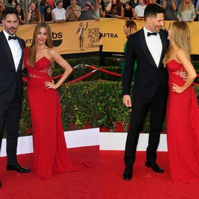 Sofija Vergara prvi put na crvenom tepihu sa verenikom: Poljupci u haljini boje ljubavi! (FOTO)