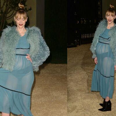 Zar i u trudnoći: Glumica u providnoj haljini bez brushaltera sa stomakom do zuba! (FOTO)