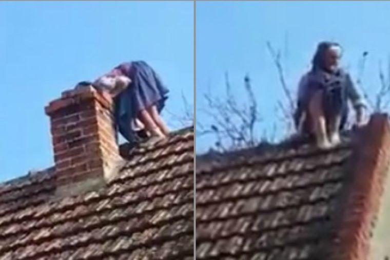 Baka (90) se popela na krov: Spretna kao mačka uprkos godinama (FOTO)