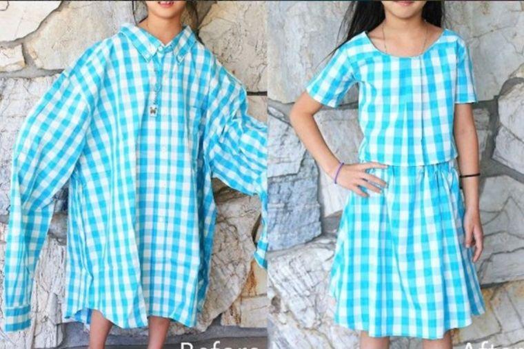 Od stare košulje napravila haljinicu za ćerku: Jeftino i originalno! (VIDEO)