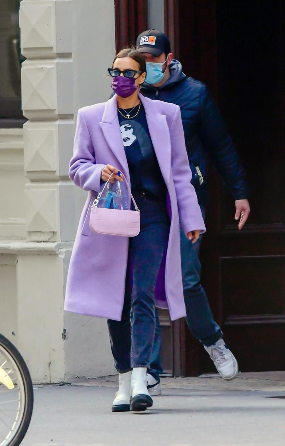 Irina Šajk, moda, kaput, ljubičasti kaput