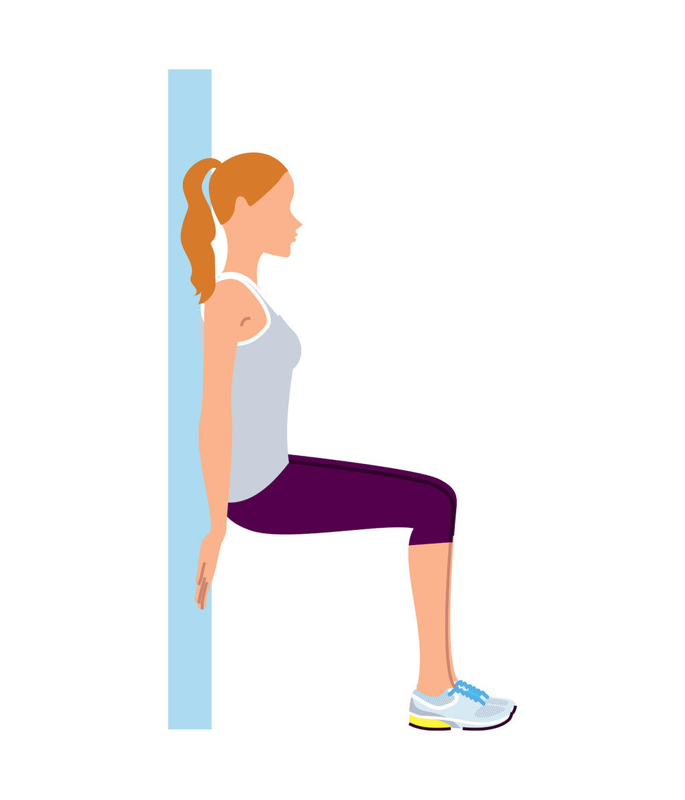 vežba, stolica, čučnjevi uz zid, zid, vežbanje